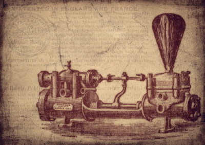 antique drawing of a water pump
