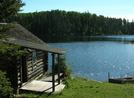off grid cabin by lake