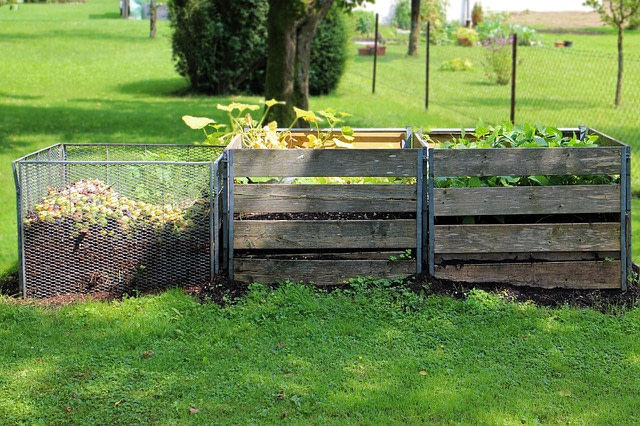 start a compost pile with a three bin system