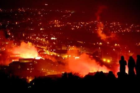 City going up in flames at night