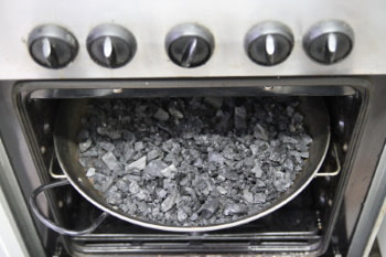 making activated carbon in the oven
