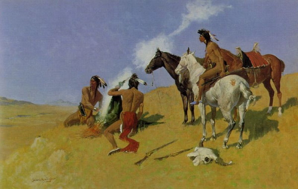 Native Americans using smoke signals to communicate over long distances