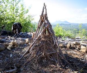large teepee campfire