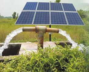 solar power panels providing energy to water pump
