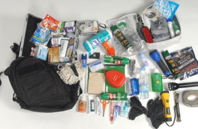 bug out bag contents on display